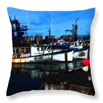 02132015 Novia Scotia Lobster Boat Throw Pillow