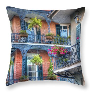 0255 Balconies - New Orleans Throw Pillow by Steve Sturgill