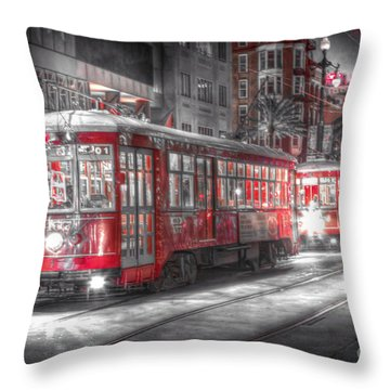 0271 Canal Street Trolley - New Orleans Throw Pillow by Steve Sturgill