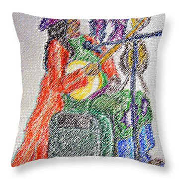 03162015 Digital Pastel Street Music Person Throw Pillow