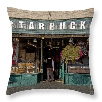0370 First Starbucks Throw Pillow
