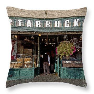 0370 First Starbucks Throw Pillow by Steve Sturgill