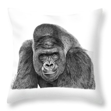 042 - Gomer The Silverback Gorilla Throw Pillow by Abbey Noelle