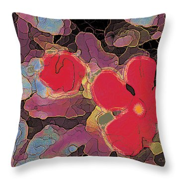 044 Cosmic Impatiens 6 With Blue Throw Pillow
