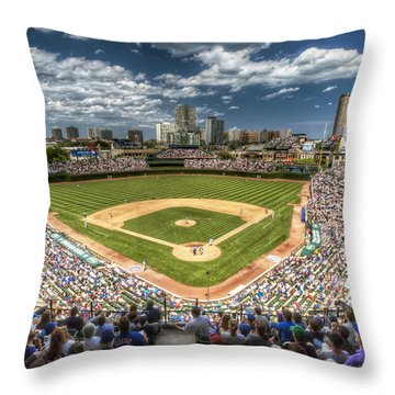0443 Wrigley Field Chicago  Throw Pillow by Steve Sturgill