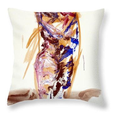 Throw Pillow featuring the painting 04898 Sweet by AnneKarin Glass