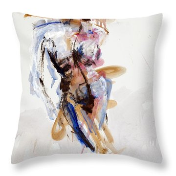 Throw Pillow featuring the painting 04914 Shake by AnneKarin Glass