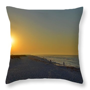 0501 Navarre Beach Sunrise Over Fishermen Throw Pillow by Jeff at JSJ Photography