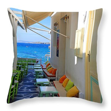 0560 Mykonos Greece Throw Pillow