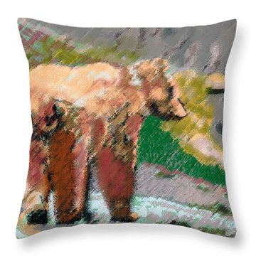 081914 Pastel Painting Grizzly Bear Throw Pillow by Garland Oldham