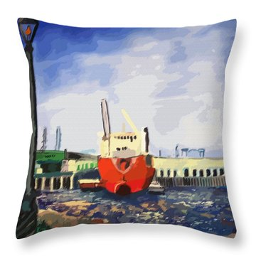 082014new Orleans Wharf Throw Pillow by Garland Oldham