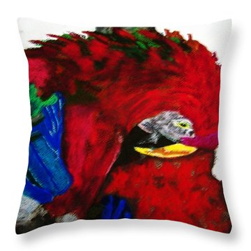 08222012 Parrot Grooming His Mate Throw Pillow