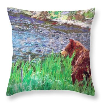 082714 Black Bear Pastel Throw Pillow
