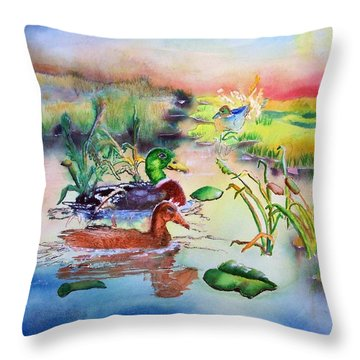 082814 Mallards At Dawn Throw Pillow by Garland Oldham