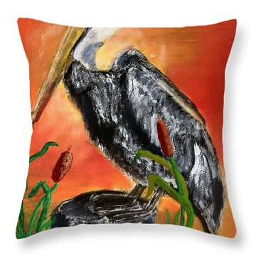 082914 Pelican Louisiana Pride Throw Pillow by Garland Oldham