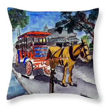 090514 New Orleans Carriages Watercolor Throw Pillow by Garland Oldham