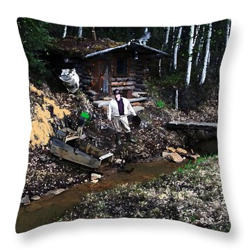 090814 Alaskan Gold Miner Throw Pillow by Garland Oldham