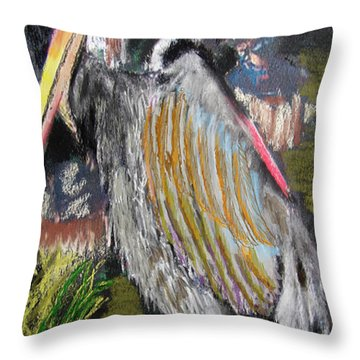 090914 Pelicans Throw Pillow by Garland Oldham
