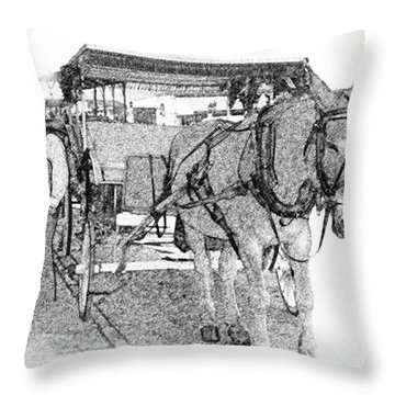 091614 Pen Drawing Carriages French Quarter Throw Pillow by Garland Oldham