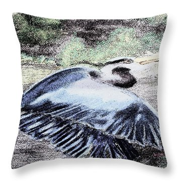 091714 Graphic Pen Blue Heron Throw Pillow by Garland Oldham