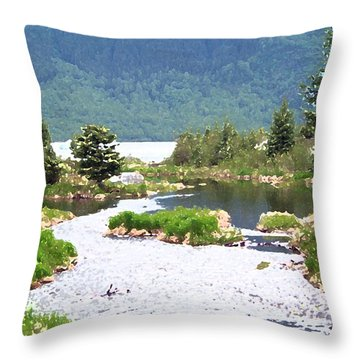 092014 Water Color Alaskan Wilderness Throw Pillow by Garland Oldham