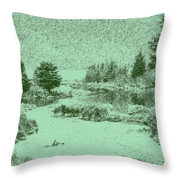 092214 Digital Pen Drawing Alaska Throw Pillow