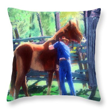 092814 Louisiana Cow Boy Throw Pillow by Garland Oldham
