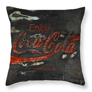Coca Cola Sign Grungy  Throw Pillow