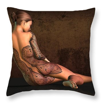 Tattooed Nude 4 Throw Pillow
