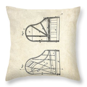 1878 Steinway Grand Piano Forte Patent Art S. 1 Throw Pillow