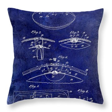 1927 Football Patent Drawing  Blue Throw Pillow