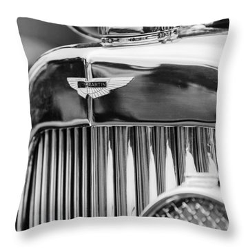 1934 Aston Martin Mark II Short Chassis 2-4 Seater Grille Emblem Throw Pillow by Jill Reger