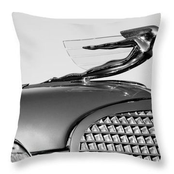 1937 Cadillac V8 Hood Ornament Throw Pillow by Jill Reger