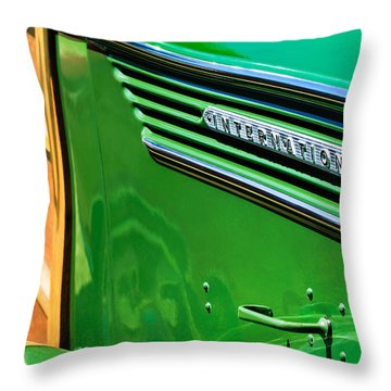 1937 International D-2 Station Wagon Side Emblem Throw Pillow by Jill Reger