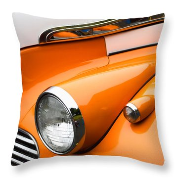 1940 Orange And White Chevrolet Sedan Throw Pillow