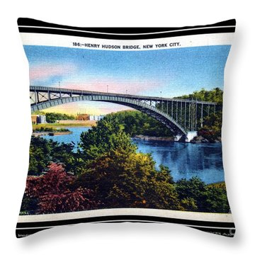 1940s Hudson River Bridge Nyc Throw Pillow