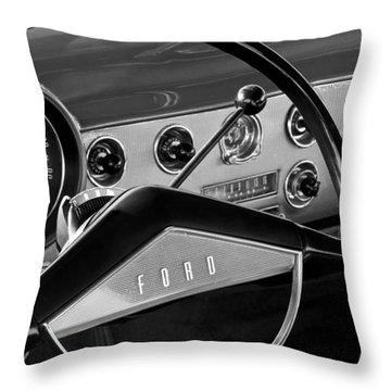 1951 Ford Crestliner Steering Wheel Throw Pillow by Jill Reger