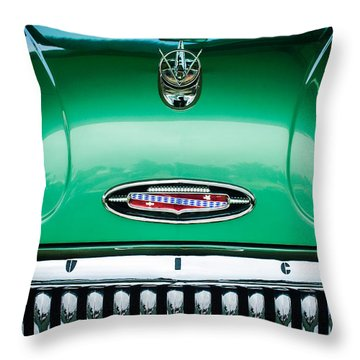 Throw Pillow featuring the photograph 1953 Buick Hood Ornament - Emblem by Jill Reger