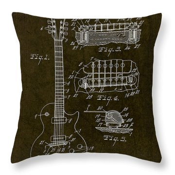 1955 Gibson Les Paul Patent Drawing Throw Pillow
