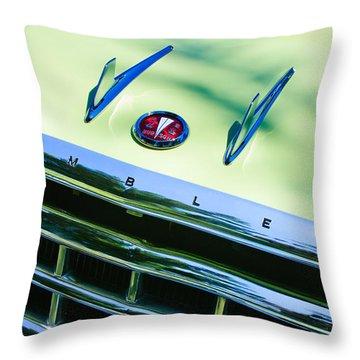 1956 Hudson Rambler Station Wagon Grille Emblem - Hood Ornament Throw Pillow by Jill Reger
