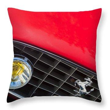 1957 Ferrari 410 Superamerica Series II Grille Emblem Throw Pillow by Jill Reger