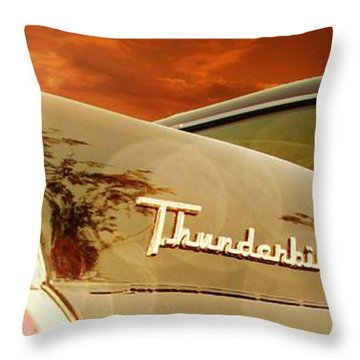 Classic Cars Throw Pillow featuring the photograph 1957 Ford Thunderbird  by Aaron Berg