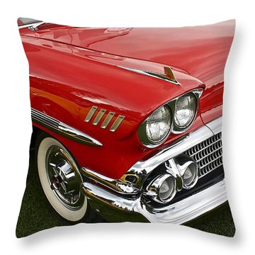 1958 Chevy Impala Throw Pillow by Linda Bianic