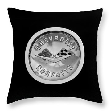 1960 Chevrolet Corvette Roadster Emblem Throw Pillow by Jill Reger