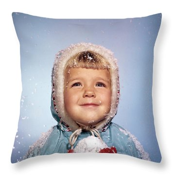1960s Little Girl Holding Snow Ball Throw Pillow