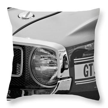 1969 Shelby Gt500 Convertible 428 Cobra Jet Grille Emblem Throw Pillow by Jill Reger