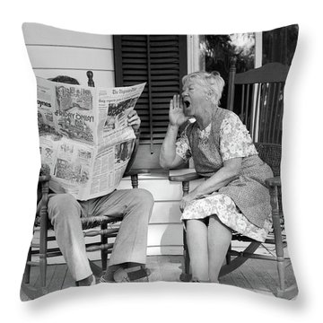 1970s Elderly Couple In Rocking Chairs Throw Pillow