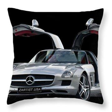 2010 Mercedes Benz Sls Gull-wing Throw Pillow