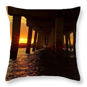 2013 First Sunset Under North Bridge Throw Pillow by Lynda Dawson-Youngclaus