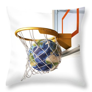 3d Rendering Of Planet Earth Falling Throw Pillow by Leonello Calvetti